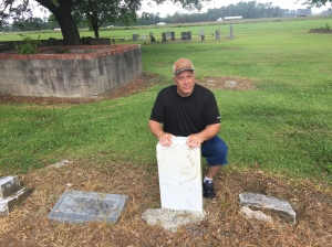 Richard Phillips at the grave of Edward Nash Phillips in Jones County, North Carolina